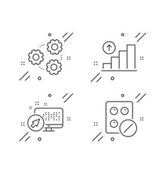 graph chart gears and web system icons set vector image