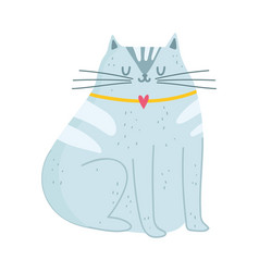 gray cat pet mascot cartoon isolated design white vector image