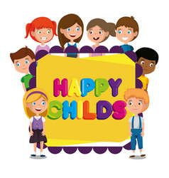 Group of happy kids zone characters vector