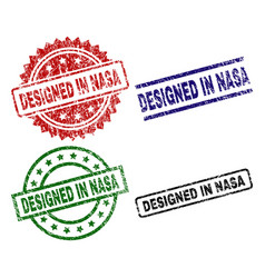 Grunge textured designed in nasa seal stamps vector