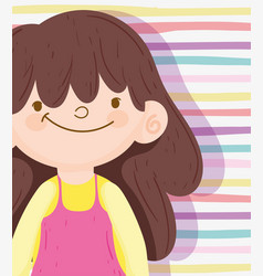 Happy children day brunette little girl stripes vector