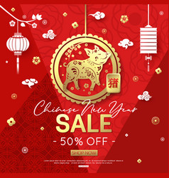 Happy chinese new year 2019 with gold pig on red vector