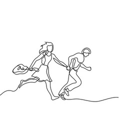 happy jumping couple with guitar vector image vector image