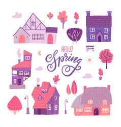 Houses for spring town constructor set elements vector