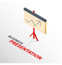Isometric board presentation icon with arrow vector
