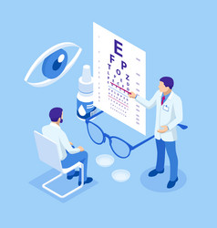 Isometric medical ophthalmologist eyesight check vector