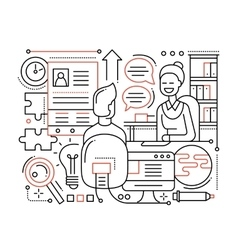 Job Interview - line design composition vector