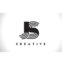 Js logo letter with black lines design line letter vector