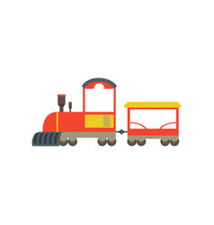 Kids cartoon red and yellow toy train railroad vector