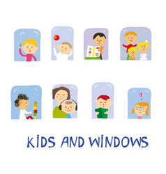 kids playing learning and having fun set at home vector image