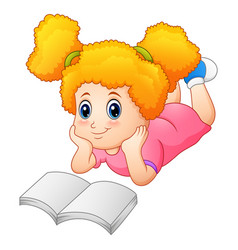 little girl laying on floor reading a book vector image