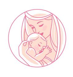 Logotype mother with newborn baon hands vector