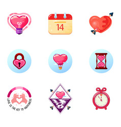 love and heart icons valentine day double vector image