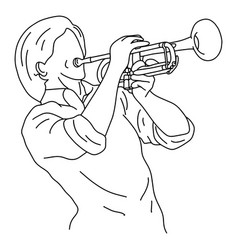 man playing trumpet sketch doodle vector image