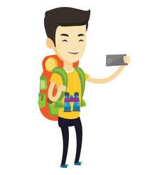 Man with backpack making selfie vector