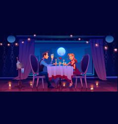 man woman couple romantic date in restaurant vector image