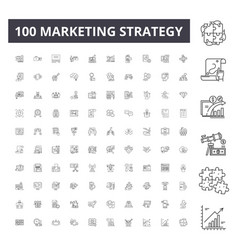 marketing strategy line icons signs set vector image