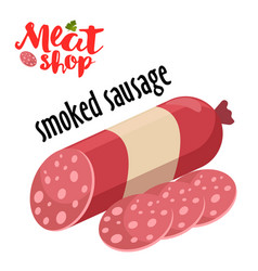 Meat - smoked sausage fresh meat icon vector
