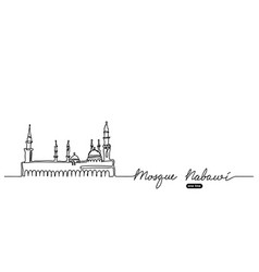 Mosque nabawi one continuous line drawing vector