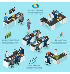 Office Isometric Infographics vector