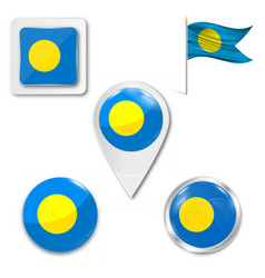 Palau flag in glossy round button icon vector