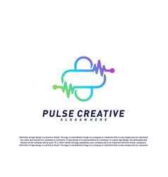 plus medical pulse or wave logo design concept vector image
