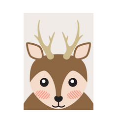 pretty deer portrait cartoon card bright backdrop vector image