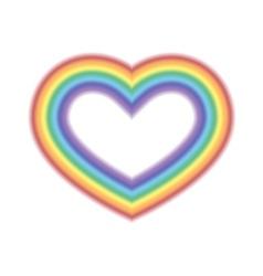 Rainbow icon heart white vector