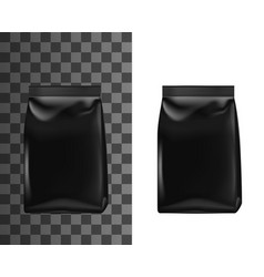 Realistic black plastic bag doy pack mockup vector