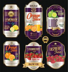 retro vintage golden labels for organic fruit vector image
