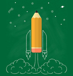 Rocket pencil vector