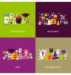 Scary Halloween Concepts Set vector