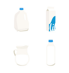 set milk in different packages glass carton vector image