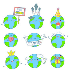 Set of cute earth icons in kawaii style vector
