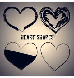 Set of four dark blue heart shapes vector image