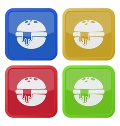 Set of four square icons hamburger melted cheese vector