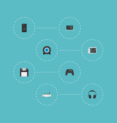 set of pc icons flat style symbols with floppy vector image