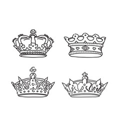 Set of stylized images of the crown icons vector