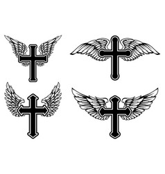 set winged christian religious crosses vector image