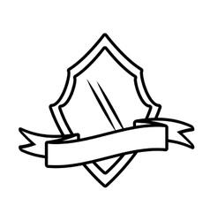 Shield decorative emblem and ribbon outline empty vector