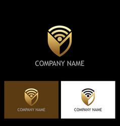 shield signal gold logo vector image
