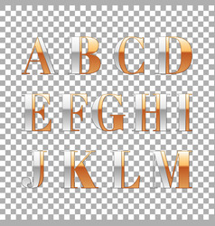 silver and gold impossible font alphabet letter vector image