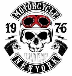 skull t shirt motorcycle logo graphic design vector image