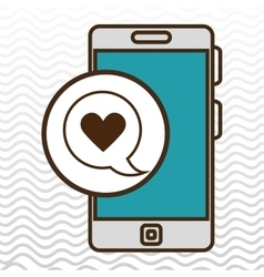 smartphone and heart black isolated icon design vector image