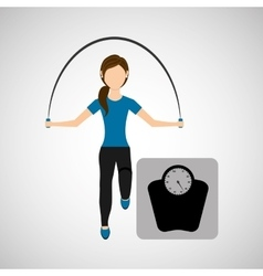 sport woman jumping rope and weight scale vector image