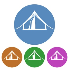 Tourist tent placed in color circles isolated vector