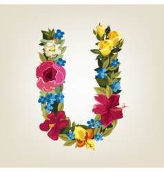 U letter Flower capital alphabet Colorful font vector