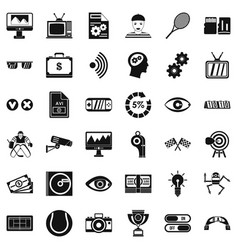 Video icons set simple style vector
