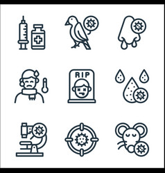 Virus transmission line icons linear set quality vector