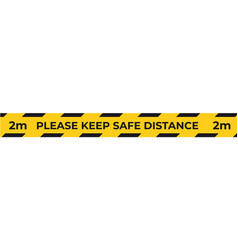 warning yellow tape for social distancing vector image